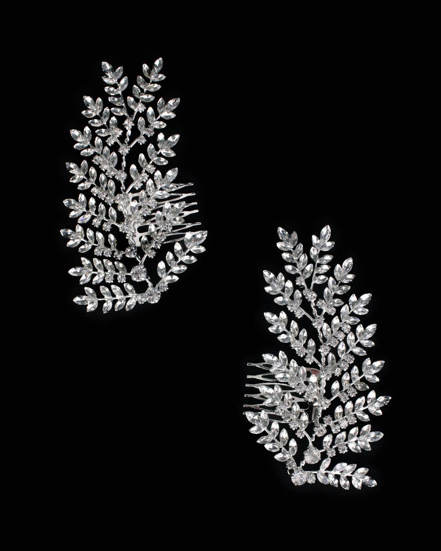 Meral Kristal Çiftli Yan Tarak Saç Aksesuar