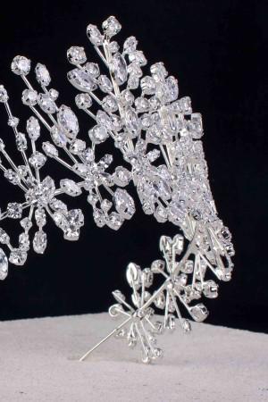 Kamilla Özel Üretim Gümüş Kaplama Zirkon Taşlı Gelin Tacı