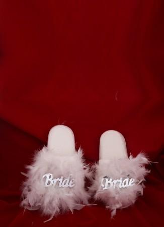 Gelin Bride Terlik Parti Bekarlığa Veda Tüylü Terlik