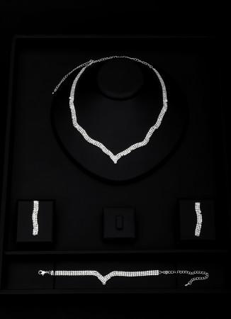 Kristal Taşlı Set Kolye Düğün Kına Nişan  Takı Set Modelleri