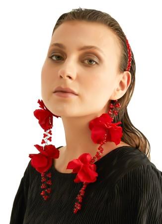 Kırmızı Boncuklu ve Çiçekli Taç