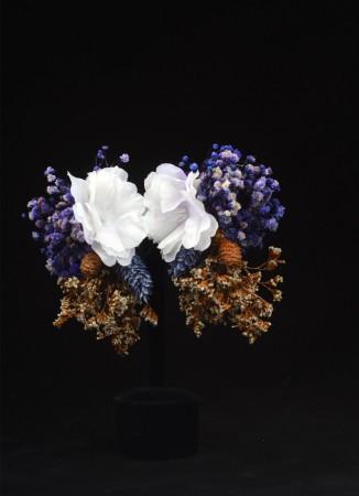 Mavi -Beyaz Çiçek Küpe