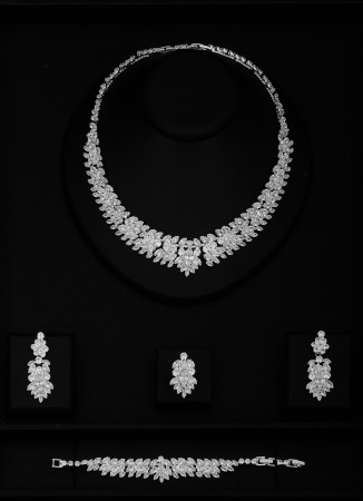 Zirkon Set Kolye Düğün Kına Nişan  Takı Set Modelleri