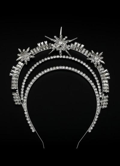 Kristal Taşlı Taç Saç Aksesuarı  Trend Tasarım Düğün Gelin Kına
