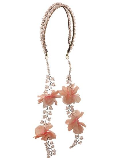 Pudra Çiçek ve Boncuklu Çiftli Taç
