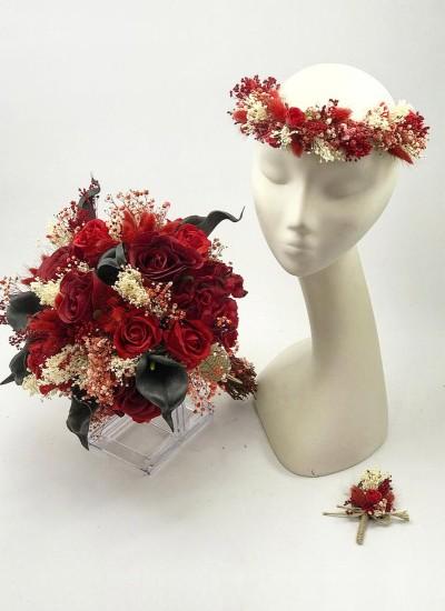 Kırmızı Gelin Çiçeği Seti