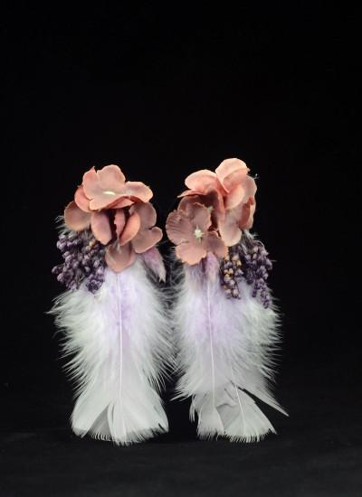 Tüylü Gülkurusu Çiçek Dış Çekim Küpesi